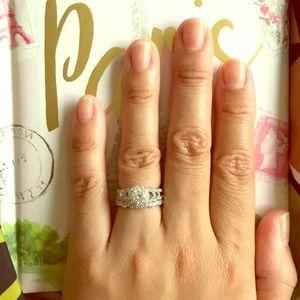 Newshe CZ sterling silver rings set